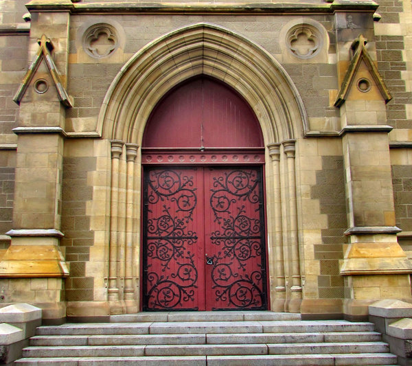 closed doors: the ornate closed doors of a cathedral church