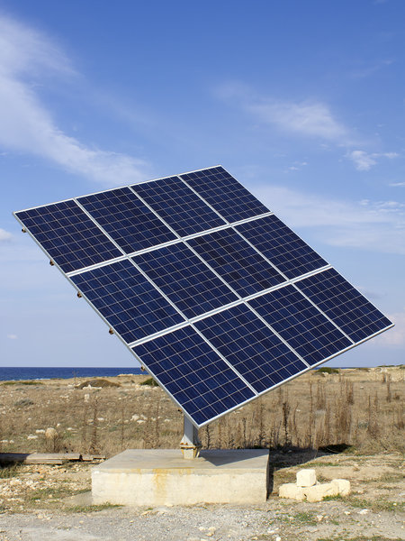 Solar power 3: Solar power array in use for domestic premises in Cyprus.