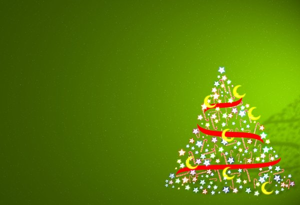 Candy Cane Tree: A Christmas tree made of stars, candy canes, ribbons and moons, against a green gradient background.