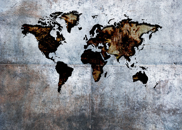 world map: Rustic world map on grungy metal background