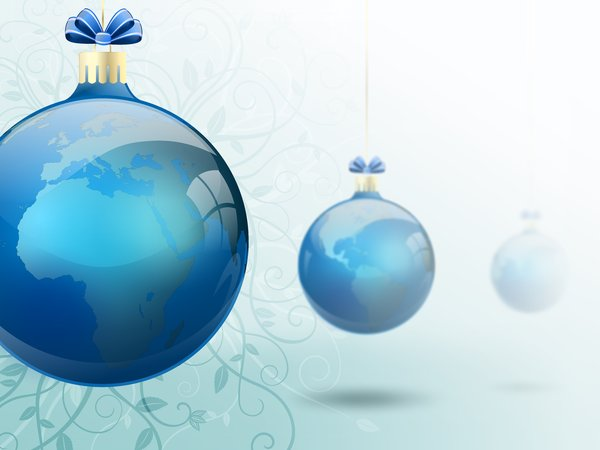 Floral Word Baubles: Christmas baubles with continents on a bright background with floral