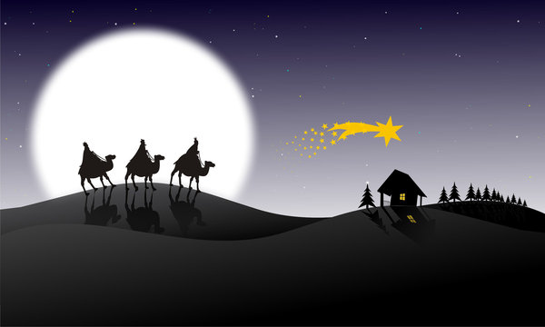 Three Kings: three kings walking to the Child of Jesus