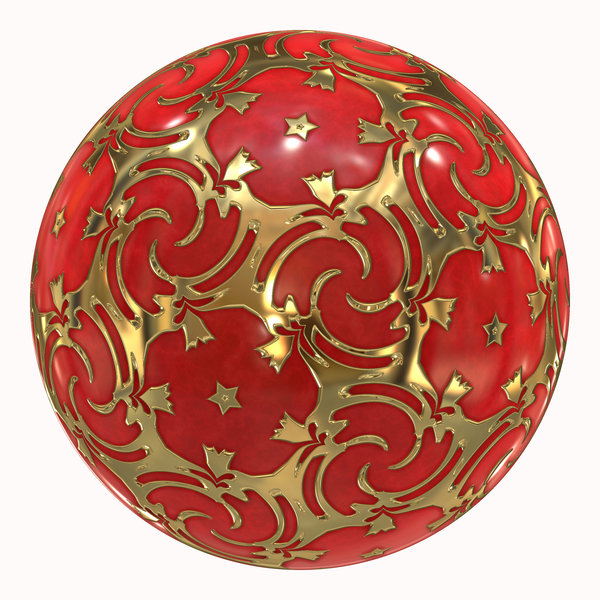 Christmas Bauble: Red and gold Christmas bauble to hang on your tree. Swirly golden pattern.