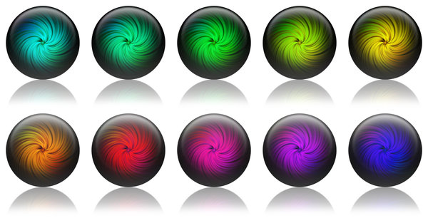 Twirl Balls: A set of various colored balls.