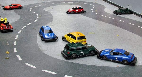 at the race track: miniature racetrack for remote controlled small car competitors