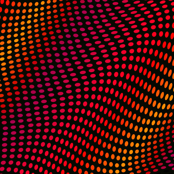 Waves and Spots: A vivid red, orange, pink and yellow wave of dots or spots forming a border for a dynamic background.