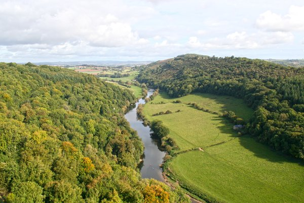 English river: The River Wye, from the viewpoint of Symonds Yat, England.