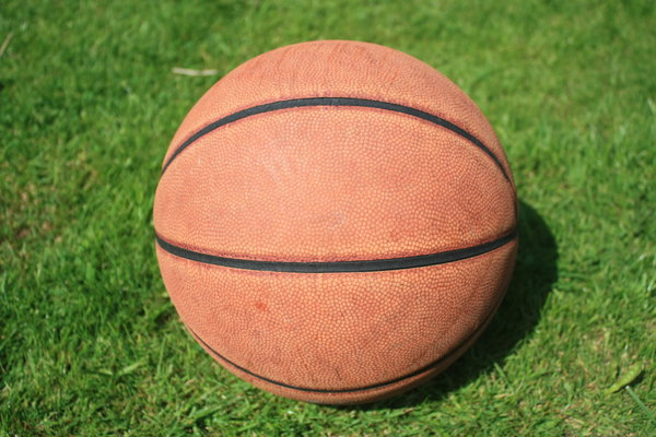 Basketball: A basketball with grass in background