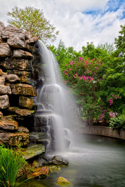 Zoo Waterfall - HDR: Long exposure + HDR composite of a waterfall at the Washington DC Zoo.