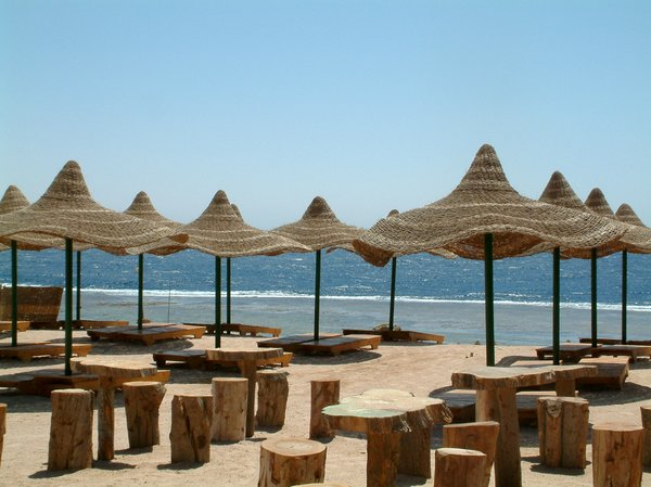 after season: Empty beach in Egypt