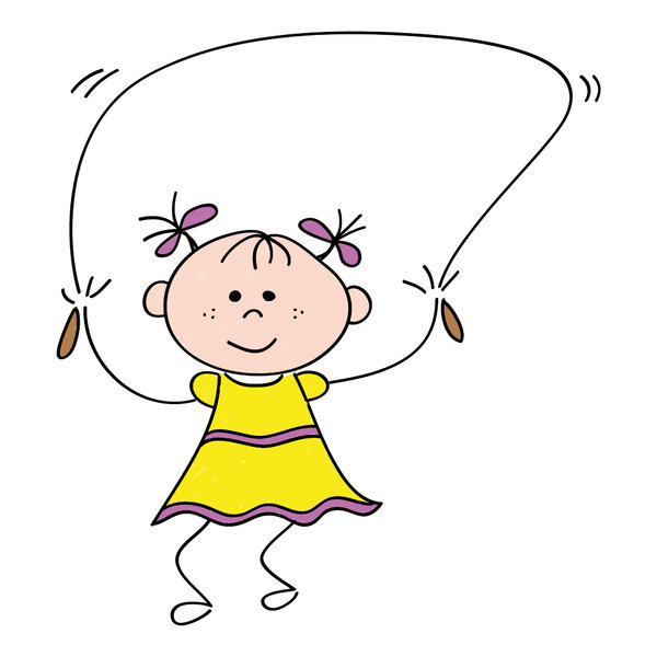 Jumping rope: Drawing of a smiling little girl that is jumping rope