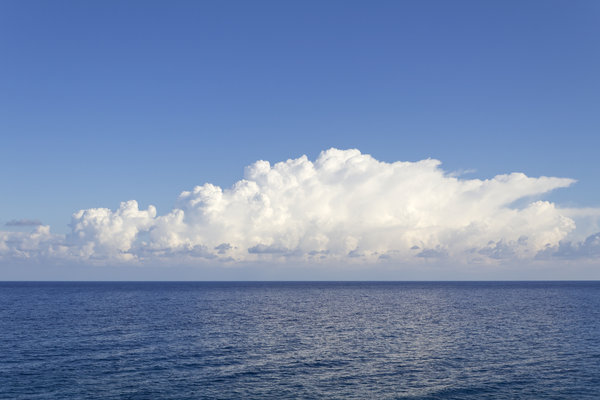 White cloud, blue sea: White cloud over the Mediterranean Sea.