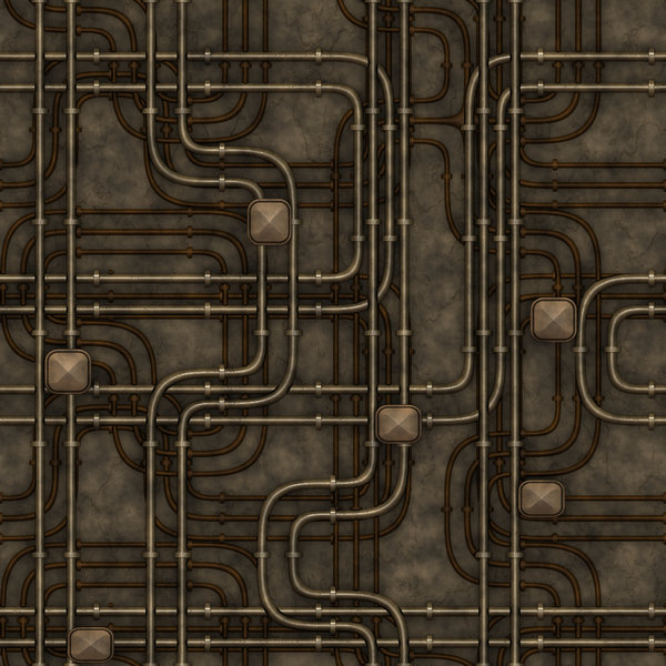 Maze of Pipes 1: A maze of pipes and connections in industrial metallic colours. Great background, texture or illustration.