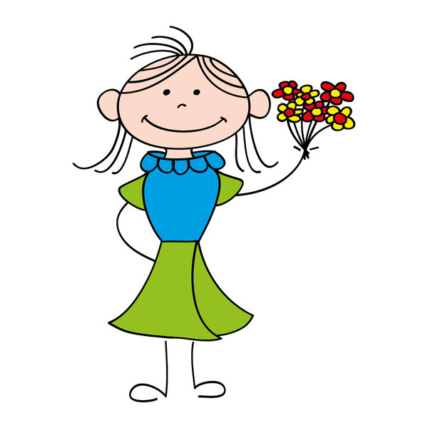 Girl with flowers: Drawing of a girl with a bunch of flowers