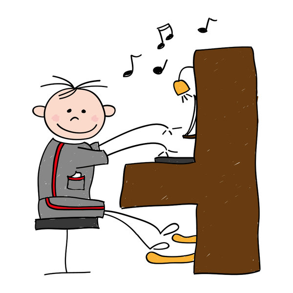 Piano boy: Drawing of a boy playing the piano