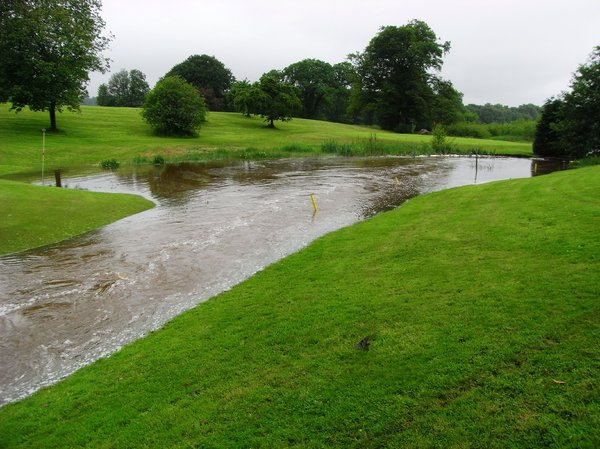 Floods: Floods just outside Dumfries in Scotland. Golf course flooded and crossing submerged.