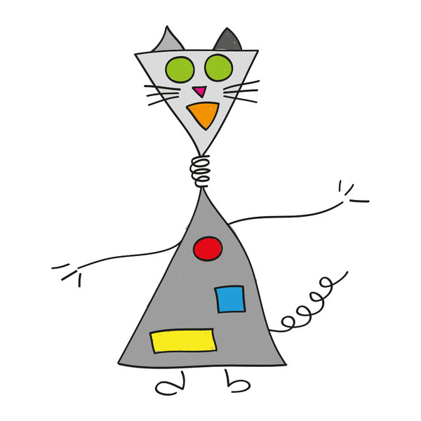 Robot cat: Drawing of a robot cat