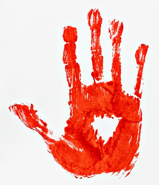 Bloody Hand Print: Hand print made with fake blood.