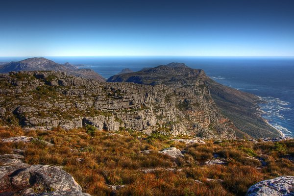 Table Mountain Scenery - HDR: Wide-angle scenery from the top of Table Mountain in Cape Town, South Africa. HDR composite from multiple exposures.