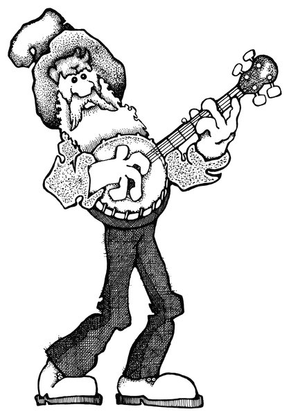 Banjo Man: A cartoon illustration from my early years.