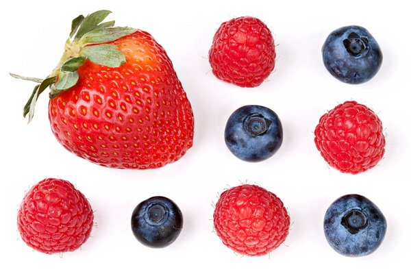 Berry Mix: Mix of strawberry, blueberries, and raspberries isolated on a white background.