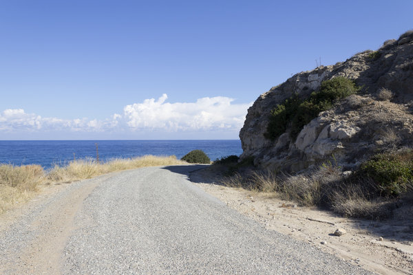 Coastal road: A coastal road in northern Cyprus.