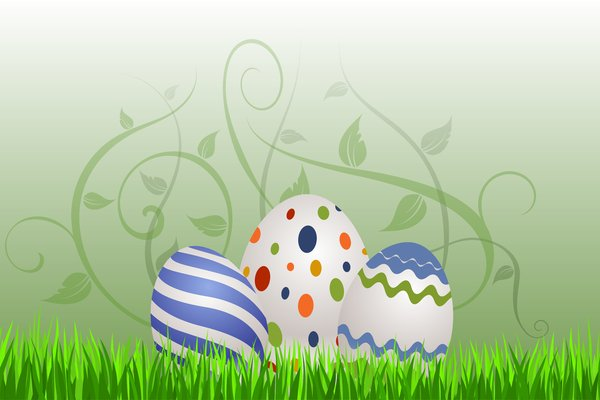 Floral Eastern Eggs 1: Easter eggs on the green background with floral