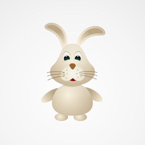 Easter Bunny 2: Vector bunny on the silver background