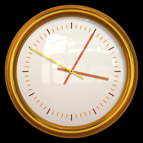 Clock: Isolated gold clock against a black background.