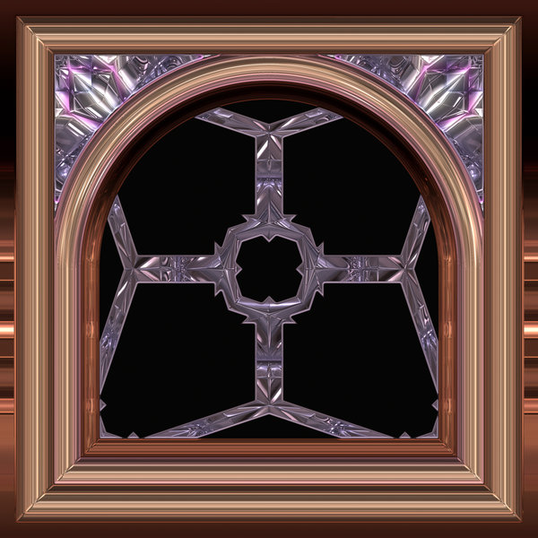 Gothic Window Arched 2: An arched gothic window in purple and brown, with a metallic finish, suitable for game layouts, decoration, or to add that touch of fantasy to a web page or layout.