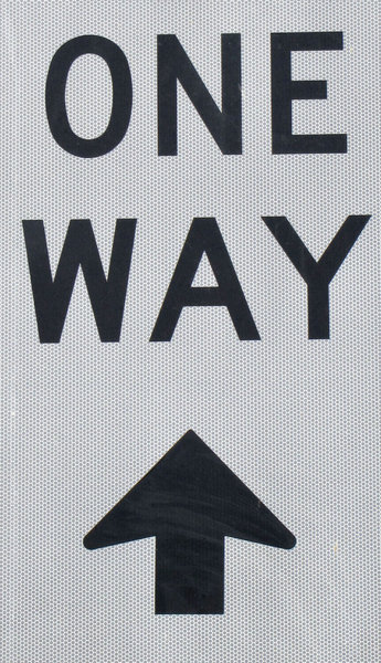 one way up?1B: reflective one way street sign