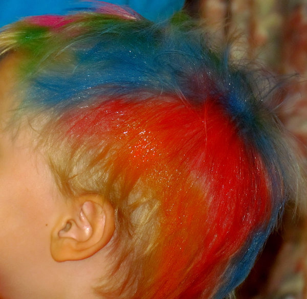 colour tops1: young boy participating in charity coloured hair fund raising