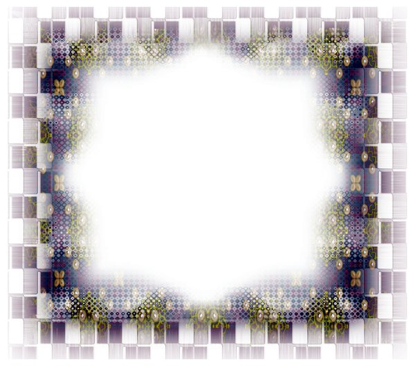 Layered Frame 1: A layered frame in colours of blue, purple, green and brown, with pearls and other textures.