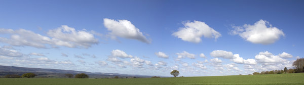 English panorama: Landscape of West Sussex, England, in spring with the South Downs in the distance.