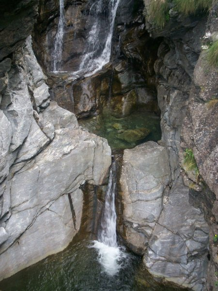 waterfall and stones: mountain little waterfall, Vallantrona, Northern Italy