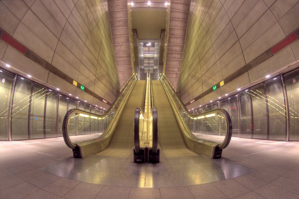 Escalators in Subway - HDR: Escalators in the Metro in Copenhagen, Denmark. The image is HDR.