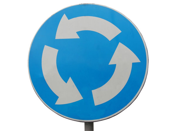 Roundabout: Just a blue sign.