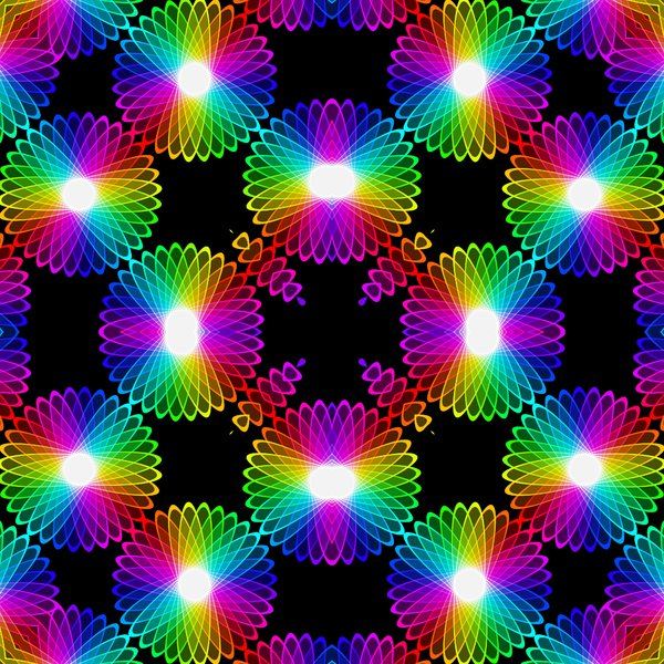 Kaleidoscopic Tile 6: A beautiful, glowing rainbow kaleidoscope of colour gradients and floral shapes, tileable for use as a fill, texture, background or element. All against a black background, which makes the colours zing.