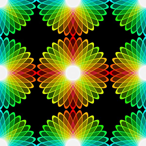 Kaleidoscopic Tile 4: A beautiful, glowing rainbow kaleidoscope of colour gradients and floral shapes, tileable for use as a fill, texture, background or element. All against a black background, which makes the colours zing.