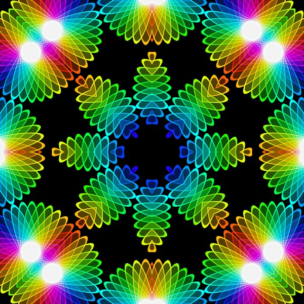 Kaleidoscopic Tile 2: A beautiful, glowing rainbow kaleidoscope of colour gradients and floral shapes, tileable for use as a fill, texture, background or element. All against a black background, which makes the colours zing.