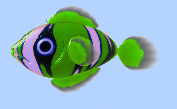 A Little Fish 1: A cute little 3d fish in green, black and pink, against a blue background.
