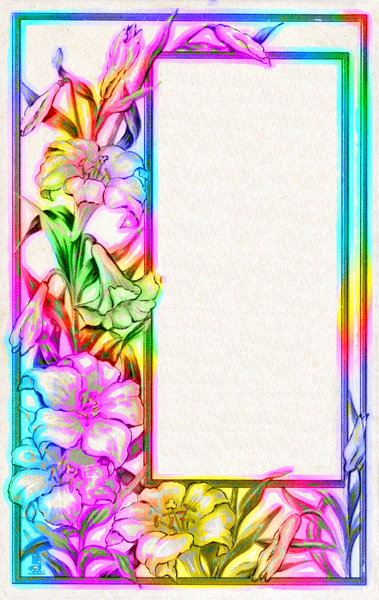 Colourful Border 4: A public domain image provided by Dennis Hill and Friends, heavily edited in rainbow colours.