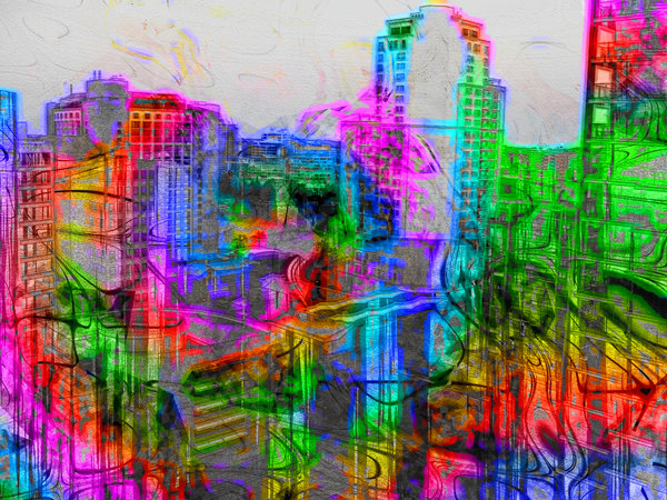 Abstract City 3: Wild colours and lines give a futuristic effect to a cityscape photograph. None of my images may be offered for download on other sites or sold. Please read the Terms of Use on RGB.