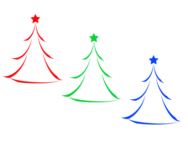 RGB Christmas Tree Icons: Minimalist abstract RGB Christmas tree icons on white background.