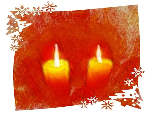 Candles With Border 1: Grungy Christmas candles with a festive border. Made from a public domain image.
