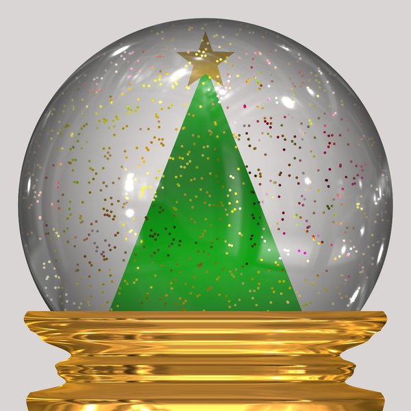 Christmas Snowglobe 2: A sparkly Christmas snowglobe with a green xmas tree, glitter snow and a golden metal base.