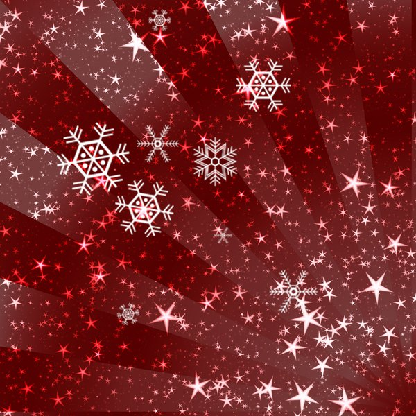 Sparkles and Snowflakes 2: Snowflakes and stars on a Christmassy red background. Bright and festive, and a pretty fill, background or texture.