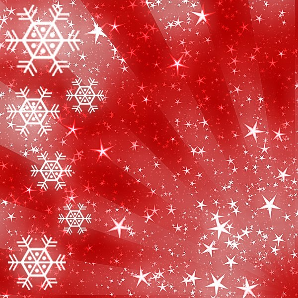 Sparkles and Snowflakes 4: Snowflakes and stars on a Christmassy red background. Bright and festive, and a pretty fill, background or texture.