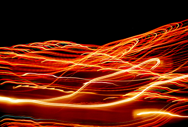 Movinlights: December Holidays 2005: Shot of the decorative lights while the car was moving.