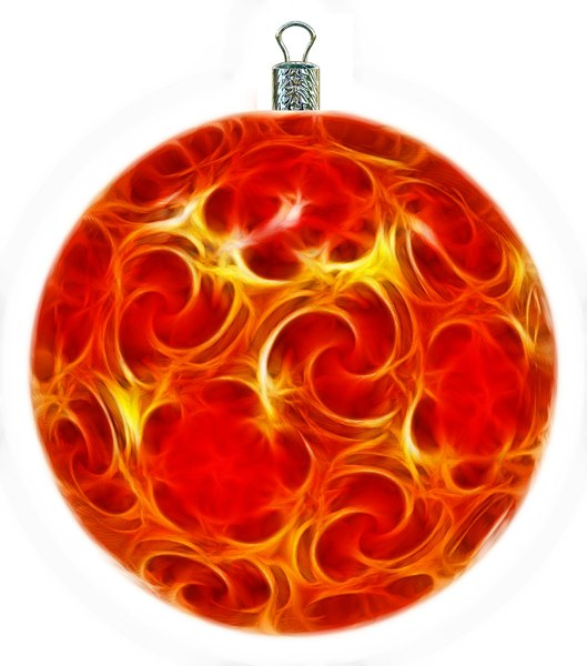Christmas Bauble 10: An ornate Christmas bauble decorated with a fractal pattern.